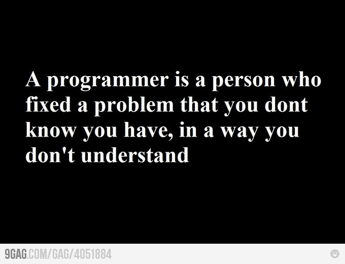 A programmer is a person who fixed a problem that you don't know you have, in a way you din't understand