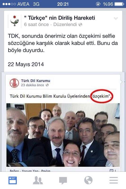 """Türk Dil Kurumu:  """"özçekim"""""""