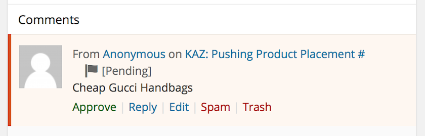 Ironically bad product placement in SPAM comment on my post on KAZ